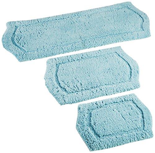 Chesapeake Paradise 3 Pc. Memory Foam Spa Blue Bath Rug Set 43262 (22