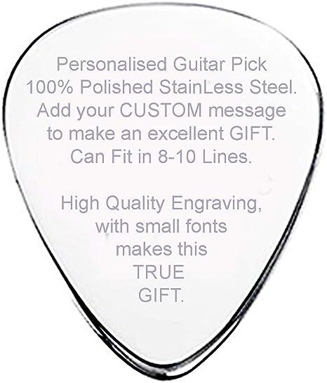 Púa de guitarra personalizada con 8 – 10 líneas, mensaje ...
