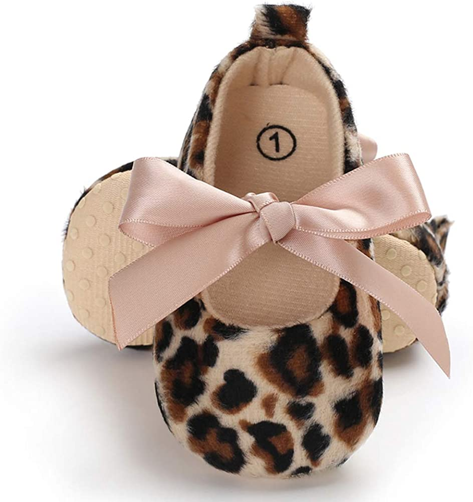 2# 13cm MoO1deer Baby Girls Shoes Fashion Leopard Bow Tie Lace-up Anti-Slip Prewalker Toddler Shoes