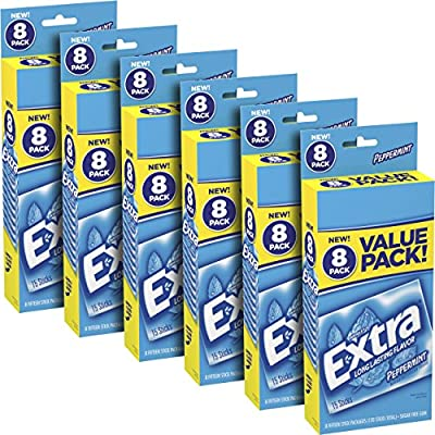 Extra Peppermint Sugarfree Gum, 6 value packs (48 packs total)