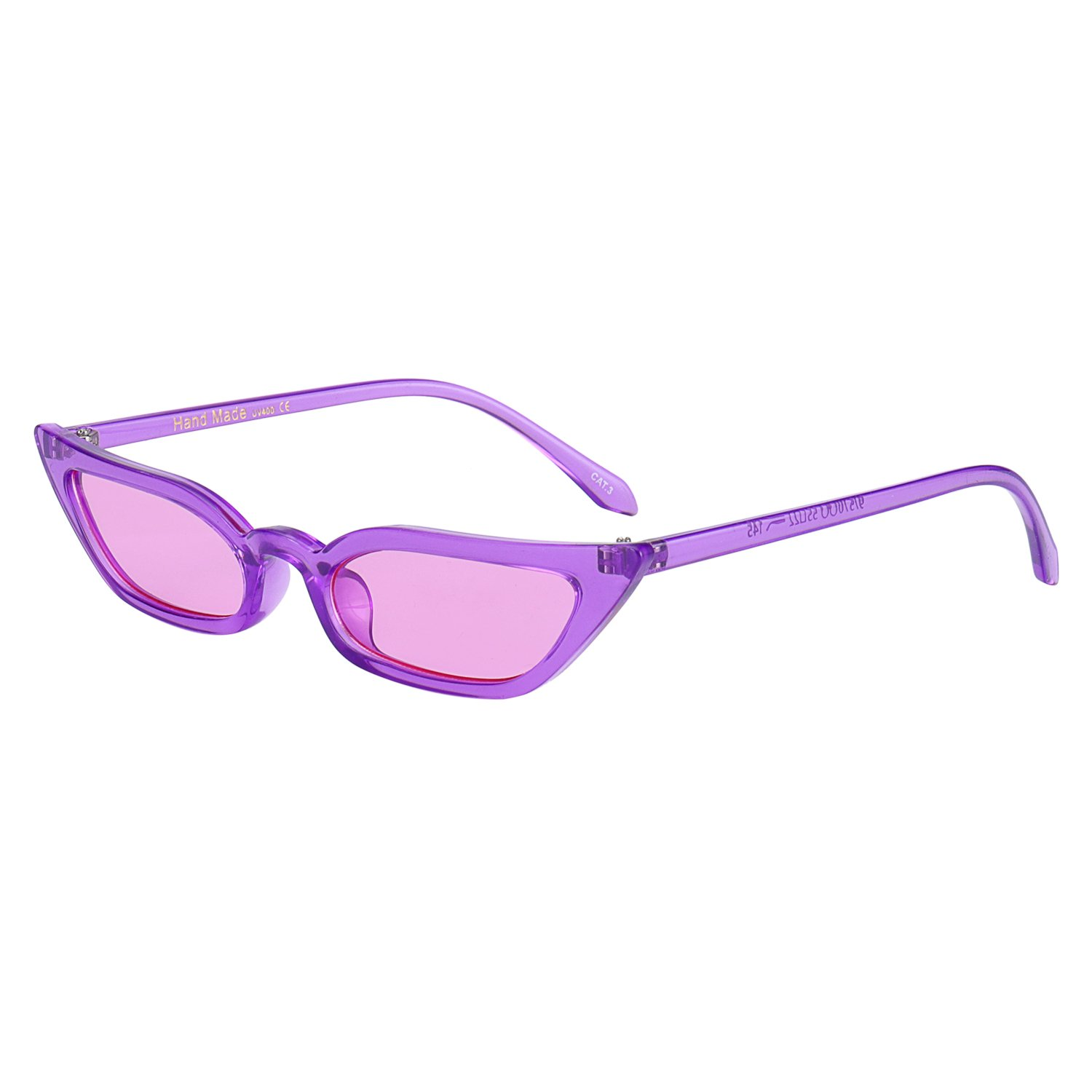 Purple WOWSUN Vintage Sex Cat Eye Sunglasses Candy color Clout Goggles for Women