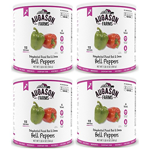 Augason Farms Dehydrated Diced Red & Green Bell Peppers #10 Can, 20 oz, Pack of 4