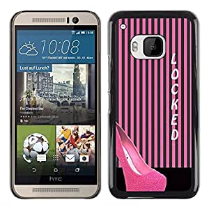 Exotic-Star ( Stiletto Pink Lines Black Locked ) Fundas Cover Cubre Hard Case Cover para HTC One M9