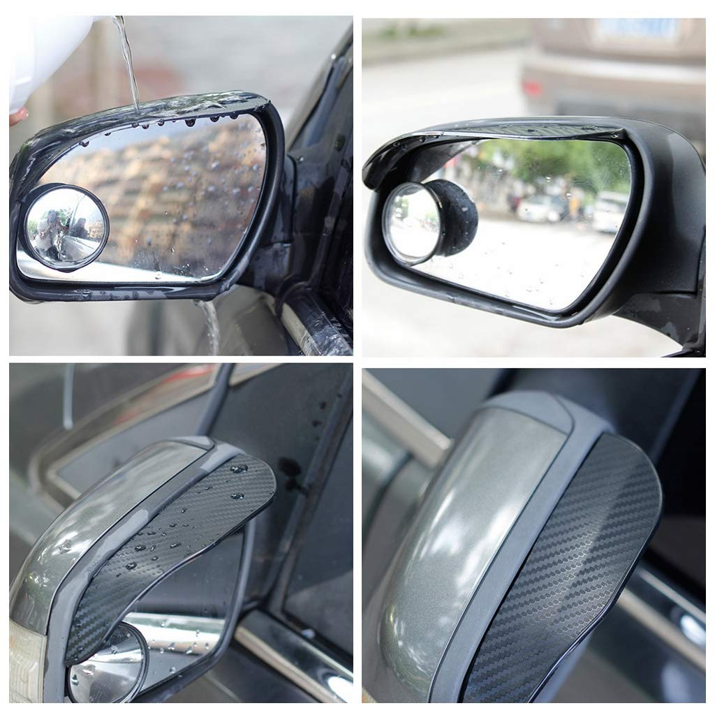 Carbon Fiber Texture Rear View Side Mirror Rain Eyebrow View Mirror Visor Guard for Most Car Truck and SUV Black ZaCoo 2 Pcs Mirror Rain Visor Smoke Guard