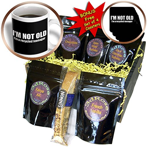 Xander funny quotes - im not old im a recycled teenager white and black - Coffee Gift Baskets - Coffee Gift Basket (cgb_201834_1)