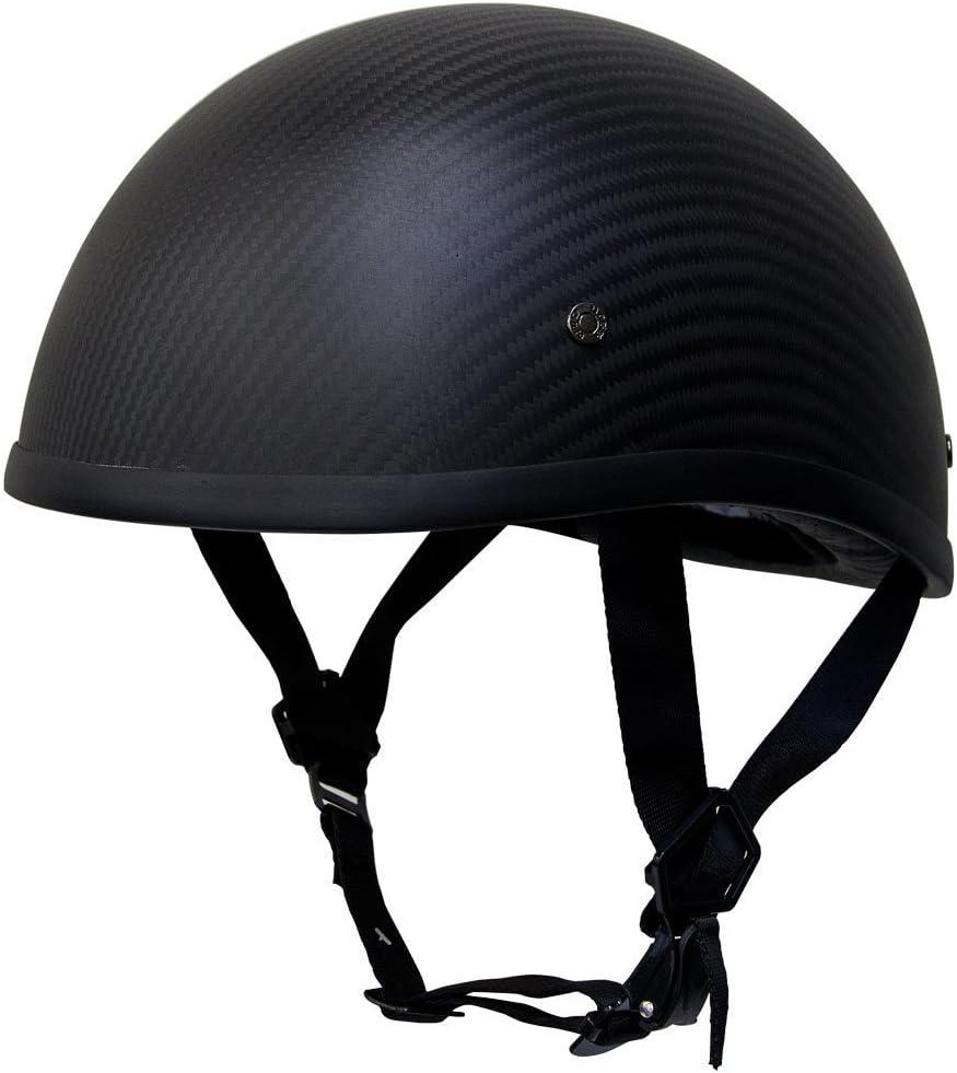 Voss 700CF EZ Rider Low Profile DOT Half Helmet with Metal Quick Release - XL - Matte Carbon Fiber