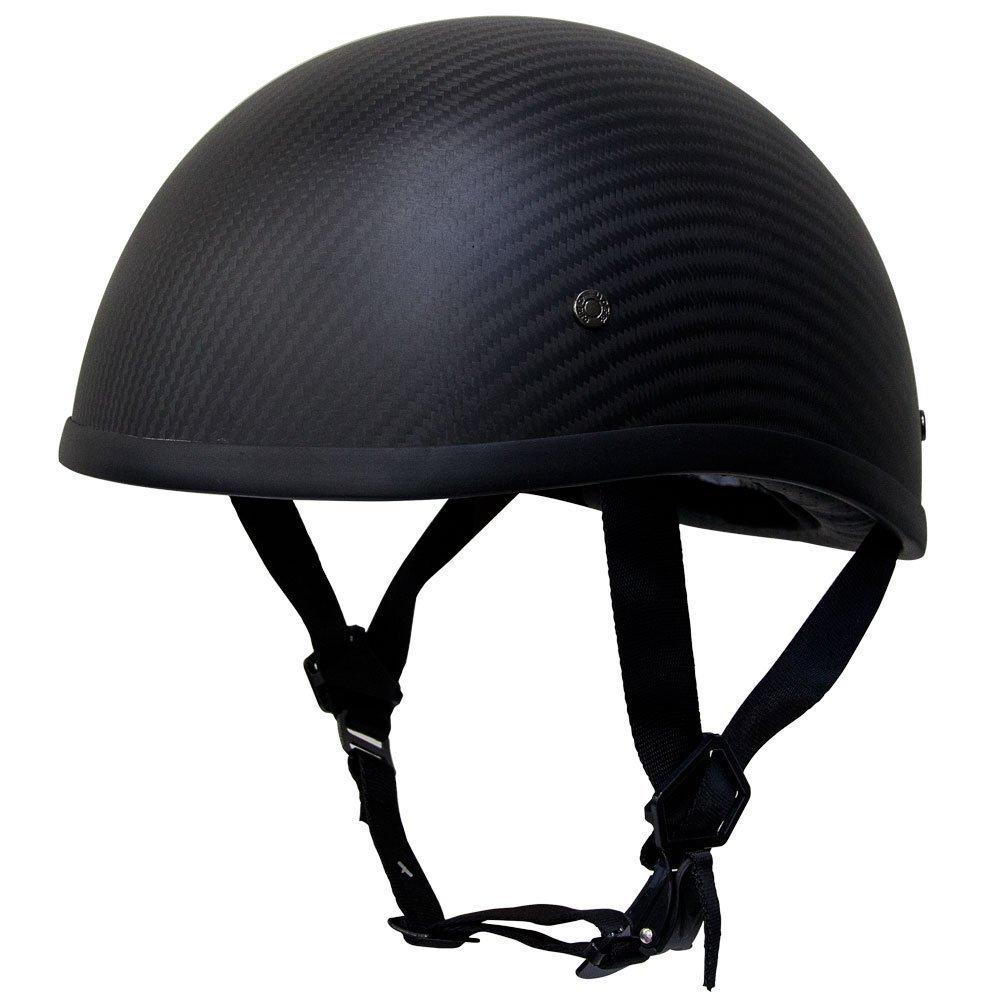 Voss 700CF EZ Rider Low Profile DOT Half Helmet with Metal Quick Release - XL - Matte Carbon Fiber