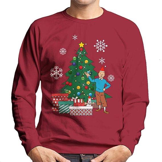 Tintin And Snowy Around The Christmas Tree Kid/'s T-Shirt