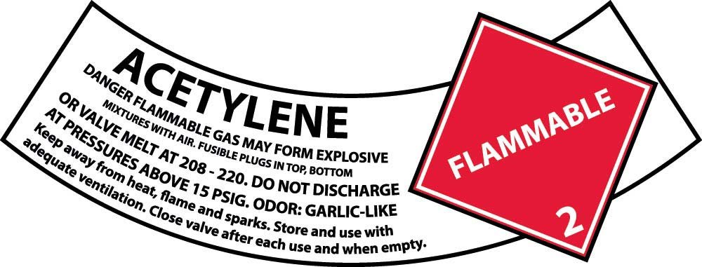 CY101AP National Marker Acetylene Gas Cylinder Shoulder Label (Pack of 25)