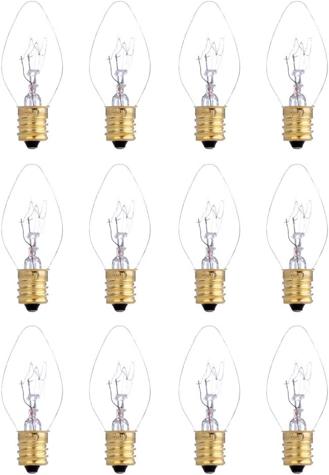 XIANNIDE YEE 12 Pack 25 Watt Bulbs for Scentsy Plug-in Nightlight Wax Warmers, Home Fragrance Wax Diffusers & Salt Lamps, 120 Volt Bulk Bulb Replacements