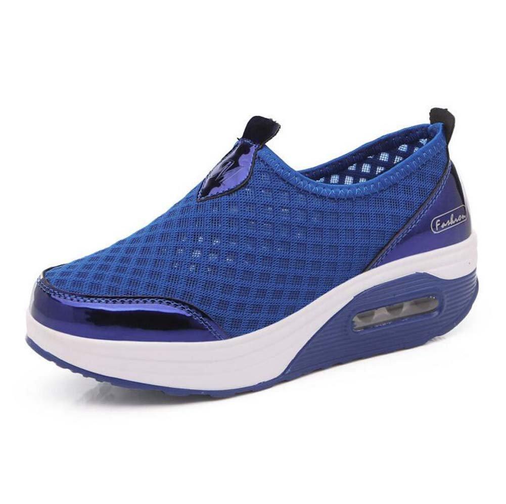 Zapatillas de Deporte Casuales de Las Mujeres Zapatos de Amortiguación de Aire Zapatos Deportivos de Malla Zapatos de Suela Gruesa Primavera y 37 EU|Azul