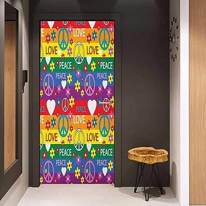 foto de Amazon.com: Onefzc Door Wall Sticker Groovy Heart Peace Symbol ...