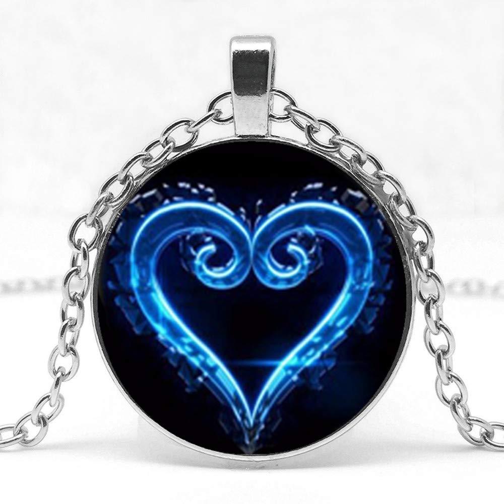 Mens necklace Fashion Kingdom Heart Logo Glass Pendant Necklace Symbol Mystery Personality Charm Jewelry Pendant Necklace.