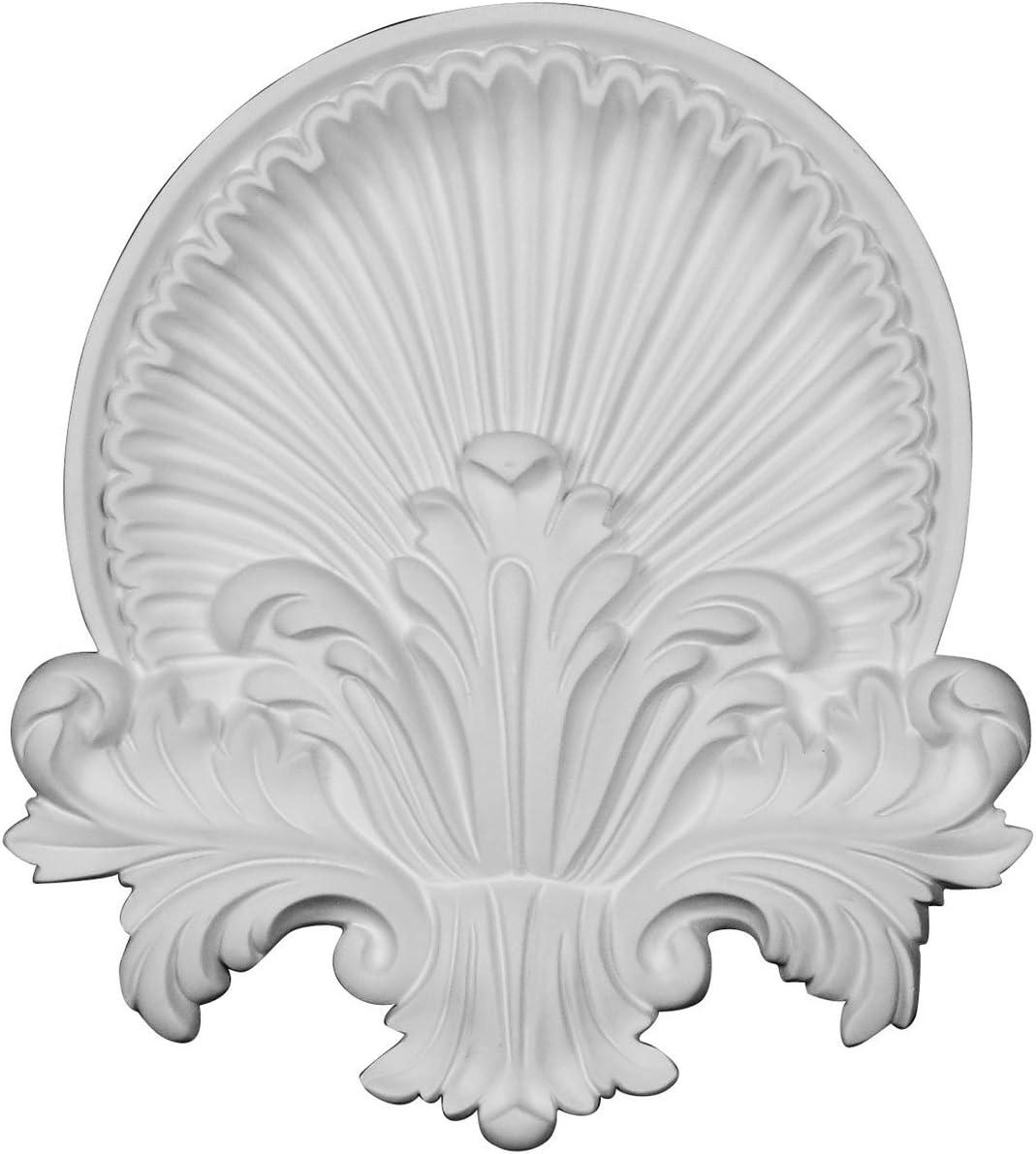 Ekena Millwork ONL10X11X01SH 10 5//8W x 11 3//4H x 1 1//8P Shell Center Onlay Factory Primed White