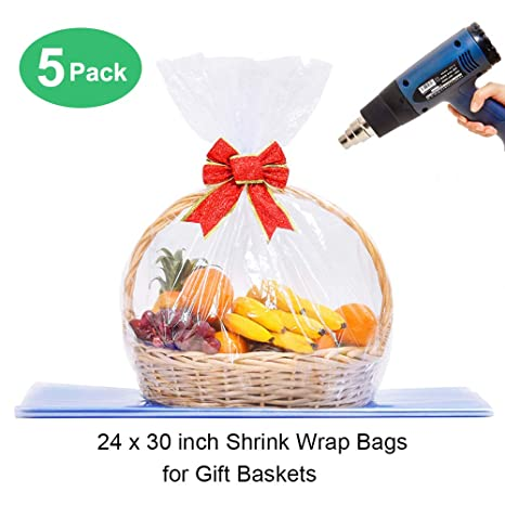 LazyMe Basket Cellophane Shrink Bags, 24x30 inch, Shrink Wrap Bags Large, Clear (5Pcs)