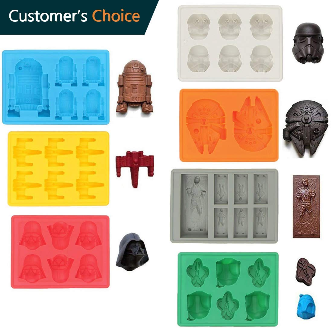 Sunerly Silicone Ice Tray Molds in Star Wars Character Shapes, Ideal for Chocolate, Ice Cubes Trays, Jelly, Sweets, Desserts, Baking Soap and Candle Making (Set of 7) by Sunerly