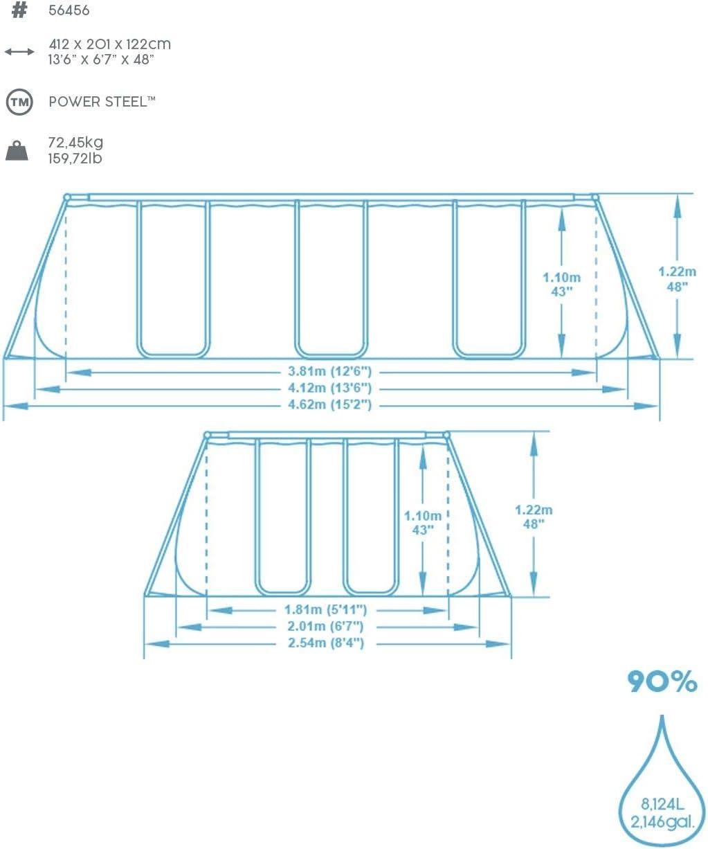 Bestway Power Steel Frame Pool eckig im praktischen Komplett Set 412x201x122 cm