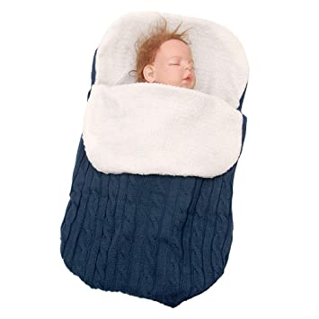 Newborn Baby Boys Girls Knitted Blanket Sleeping Bag Sleepsacks Swaddle Wrap