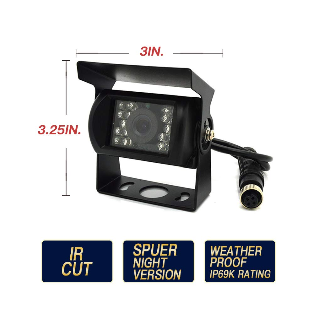 CNCZ-728 Backup Camera System Rear View Monitor Safety with 7 Display Black
