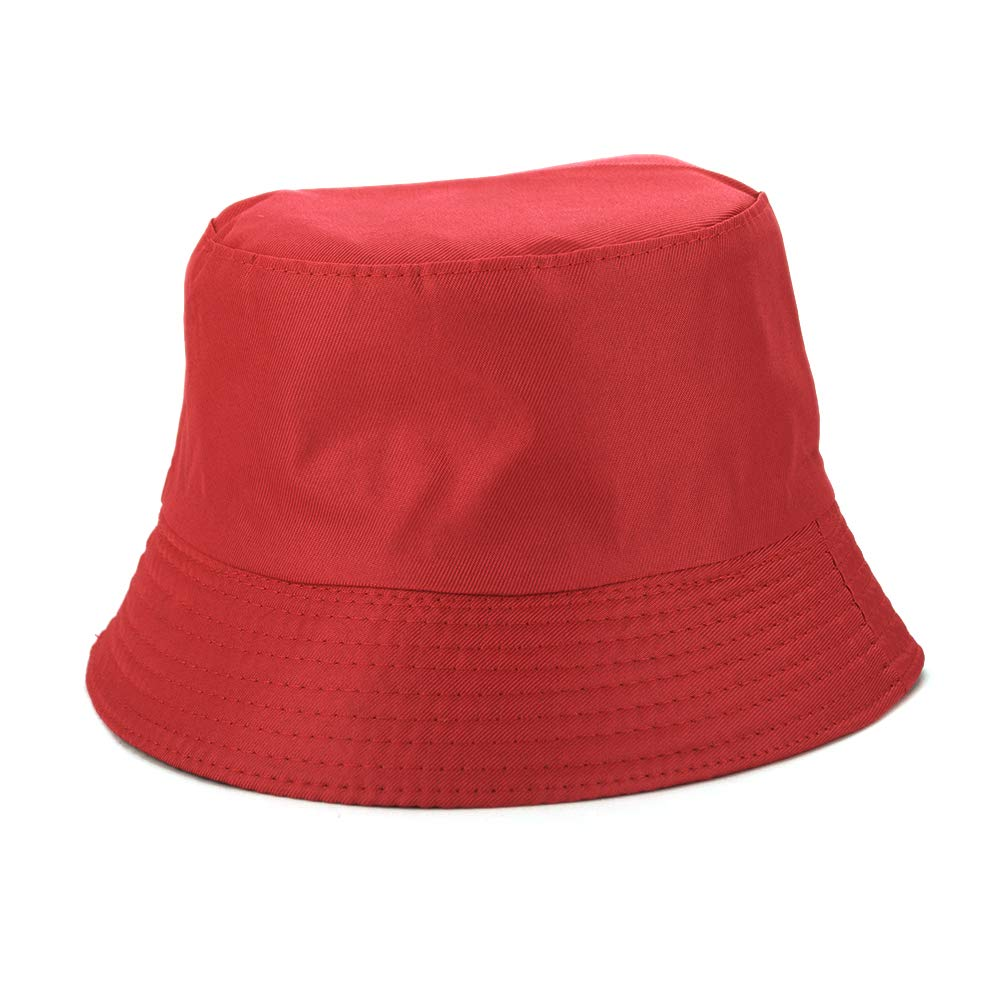 Opromo Blank Cotton Bucket Hat Fishing Hunting Hat Unisex Summer Outdoor Cap-Red-24PCS by Opromo