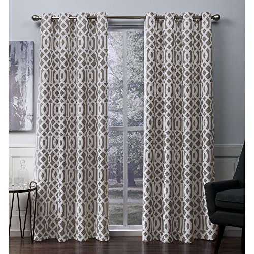 Exclusive Home Curtains Scrollwork Gated Print Woven Sateen Window Curtain Panel Pair with Grommet Top, 52x84, Taupe, 2 Piece A Bed Geometric Curtain