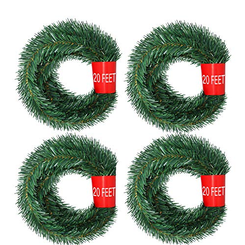 DearHouse 80Feet Christmas Garland, 4 Strands Artificial Pine Garland Soft Greenery Garland for Holiday Wedding Party,Stairs,Fireplaces Decoration, Outdoor/Indoor Use