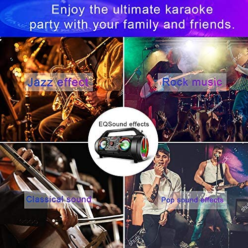 Portable Bluetooth Speakers, 30W Loud Outdoor Speakers with Subwoofer, FM Radio, RGB Colorful Lights, EQ, Stereo Sound, 10H Playtime Boombox Wireless Speaker for Home, Party, Camping, Travel 61tZykZZ3cL