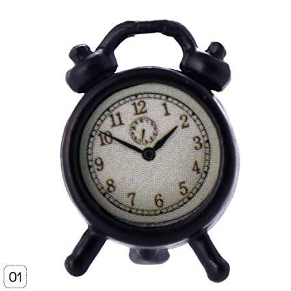 Amazon.com: Niome Dollhouse Miniature Alloy Alarm Clock ...
