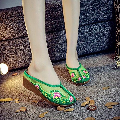 Verde Para con de Bordado Insun Sandalias Mujer Chanclas Mujer nUZHqx8zwF