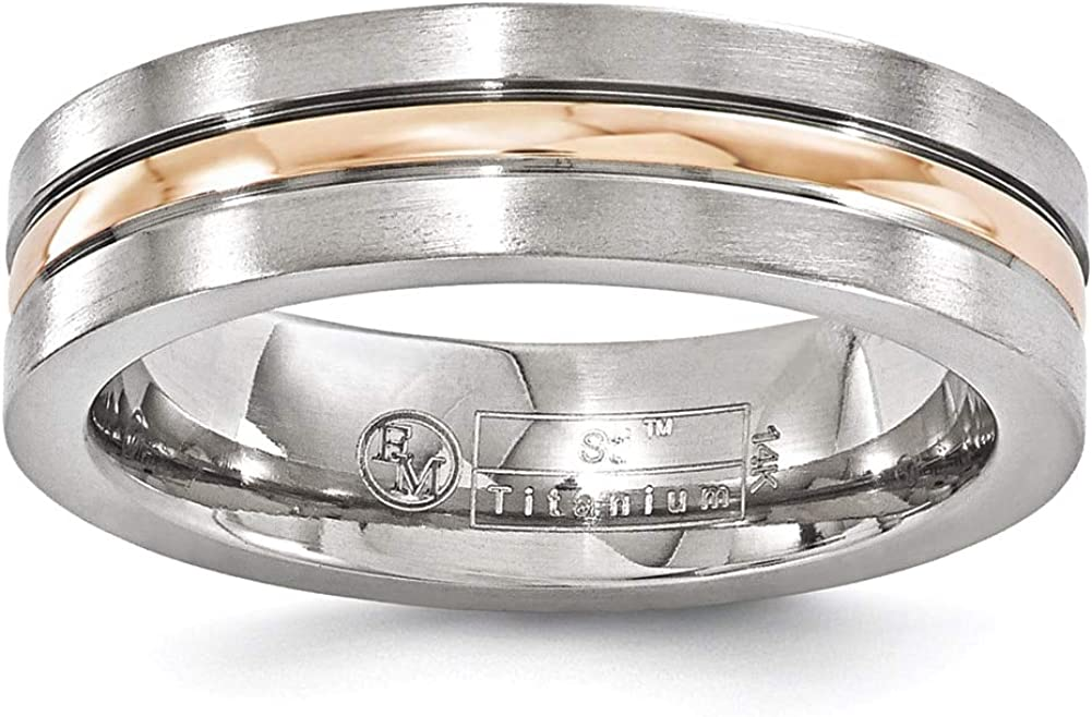 Lex /& Lu Edward Mirell Titanium and 14k Rose Gold Grooved 6mm Band