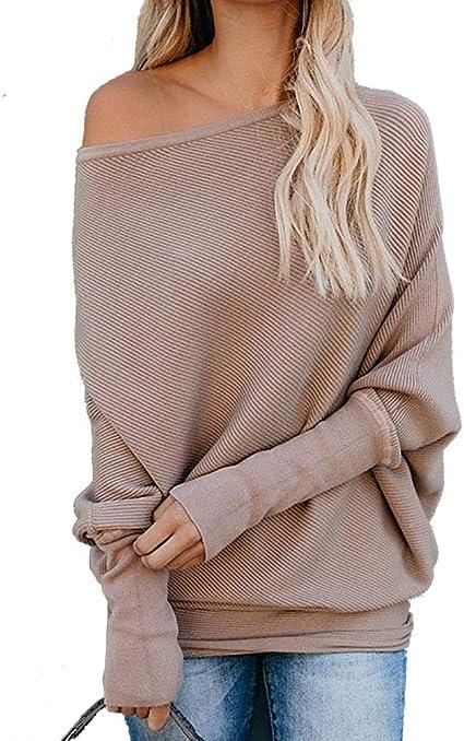osazic Women Turtleneck Batwing Sleeve Side Slit Waffle Knit Baggy Sweater Tunic Tops