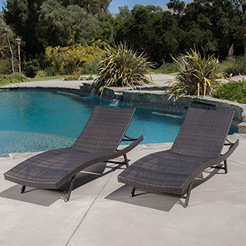 Eliana Outdoor Brown Wicker Chaise Lounge Chairs (Set of 2) (Outdoor Wicker Chaise)