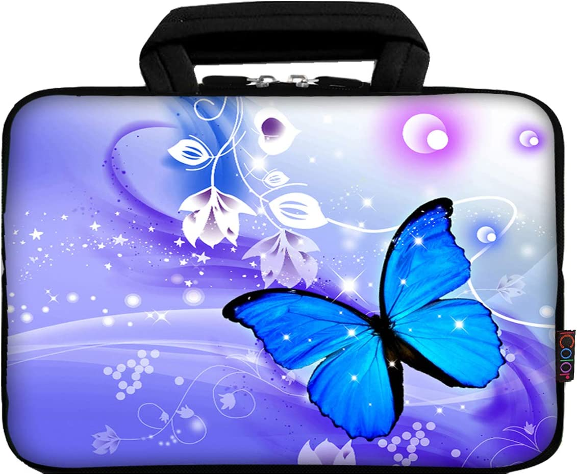 """iColor 12"""" Laptop Handle Bag 11.6"""" 12.2 inch Neoprene Notebook Tablet Sleeve Computer PC Carrier Protection Cover Case Pouch (Blue Butterfly)"""