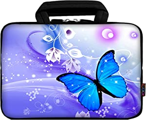 "iColor 9.7"" 8"" Tablet Bag Case 10"" Laptop Sleeve 10.1"" 10.2"" Handbag Carrier eBook Computer PC Netbook Readers Top Handle Protection Carrying Cover Holder-BlueButterfly"