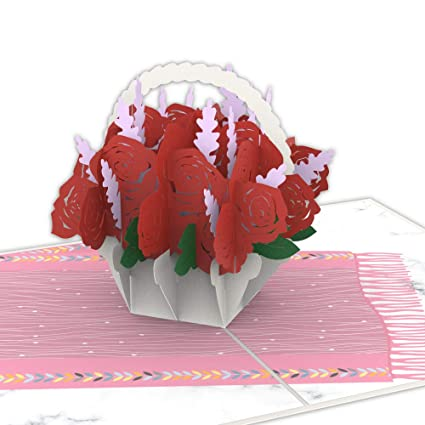 Colorpop Cards Rose Basket Love Pop Up Card Mothers Day 3D Birthday