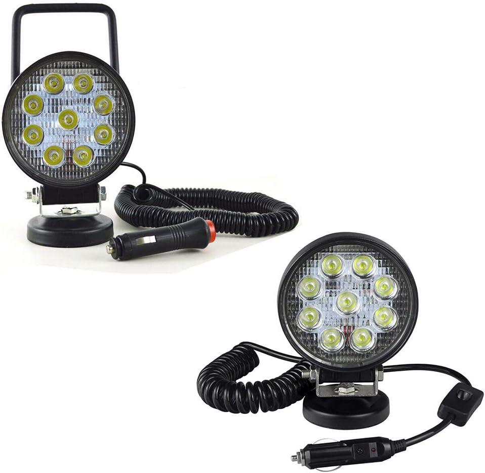 Willpower 2 luces LED de trabajo de 27 W con imán, base magnética, encendedor de cigarrillos, focos LED portátiles redondos de 4 pulgadas para 4x4 SUV ...