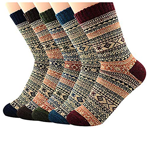 Century Star Womens Ultra Light Thermal Cashmere Wool Full Cushion Crew Cute Winter Socks 5 Pairs Diamond3 ()