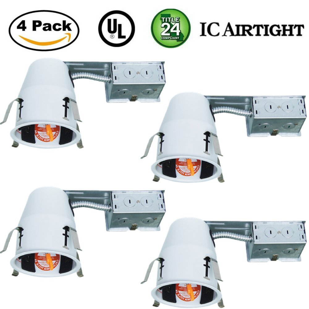 4'' Inch Remodel LED Recessed Can Housing Air Tight IC UL Listed and Title 24 Certified Four Bros Lighting (4 Pack)