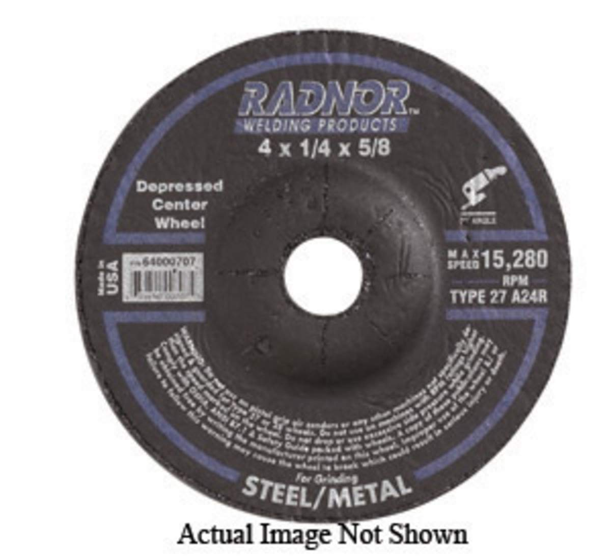 Radnor 4'' X 1/8'' X 3/8'' A24R Aluminum Oxide Type 27 Depressed Center Cut Off Wheel For Use With Right Angle Grinder On Metal And Steel, Package Size: 20 Each by Radnor