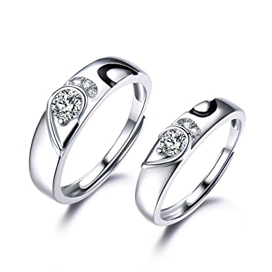 Heart Wedding Bands | 925 Sterling Silver Cz White Gold Plated Heart Wedding Band Set