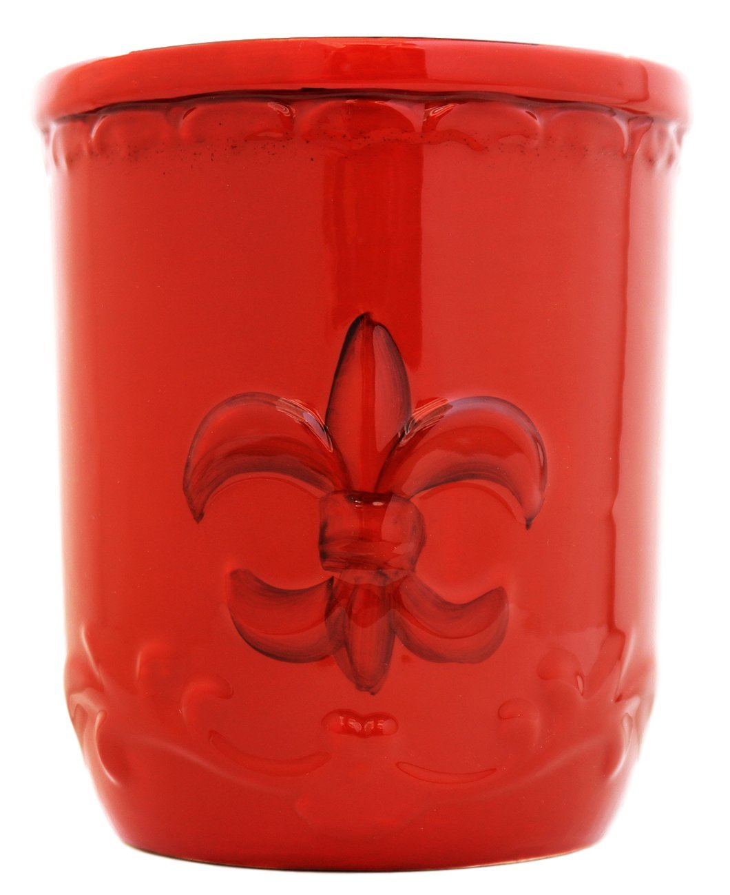 Tuscany Colorful Hand Painted Fleur De Lis **COLLECTION** By ACK (Orange Utensil Jar) 82039