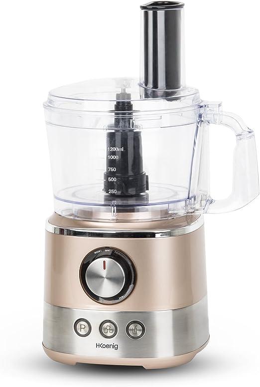 H.Koenig Procesador de Alimentos Potente, Profesional, 1000 W, 1.2 litros, 3 Funciones, Múltiples Accesorios, Beige MIX330: Amazon.es: Hogar