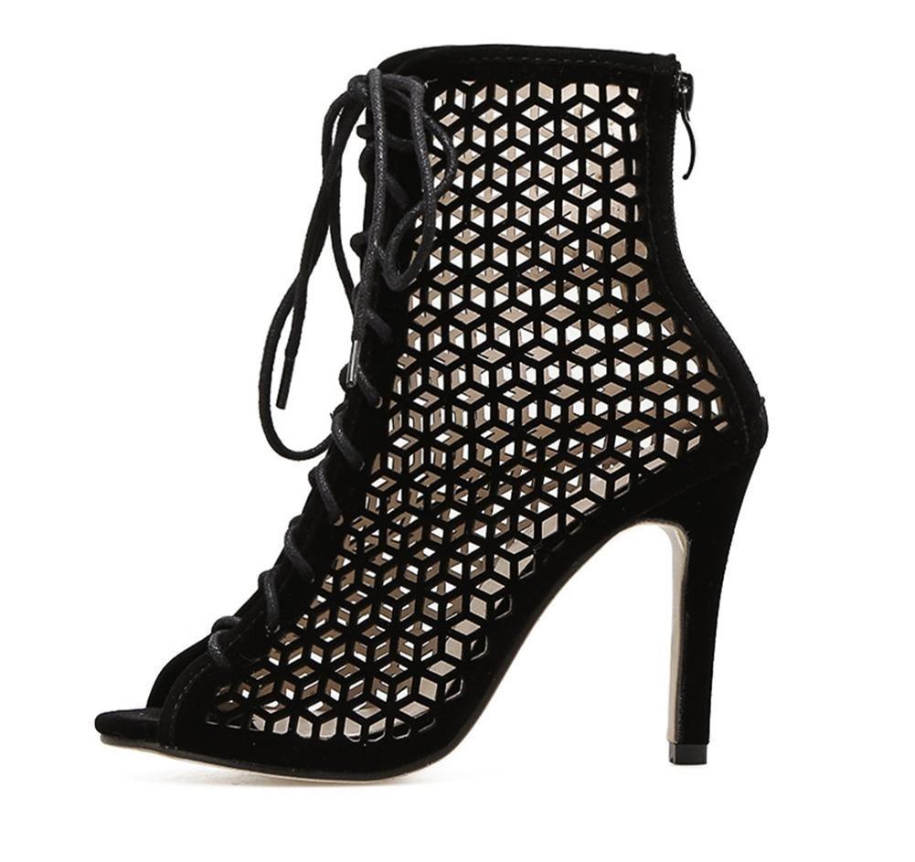 Damen Sexy Sandalen Durchbrochen Stiefel Stilett Hoch Hacke Schuhe Durchbrochen Sandalen Wildleder Schwarz Arbeit Party Kleid Nachtclub d774e2
