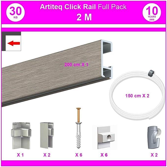 8,5 mm NEWLY Pack Eco 30 m/ètres de cimaise Click Rail Couleur Blanc laqu/é Rail en Aluminium Se Coupe avec Une scie /à m/étaux RAL9010 - Solution Suspension Cadres et Tableaux