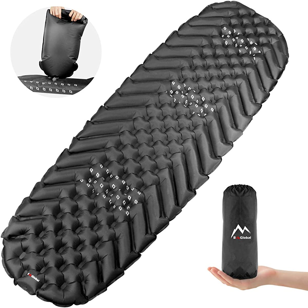 BAGLOBAL Camping Sleeping Pad for Adults, Self Inflating Camping Mat with Inflated Bag and Two-Way Valve, Lightweight, Anti-Slip, Compact Waterproof Best Sleeping Mat for Backpacking Hiking Tent