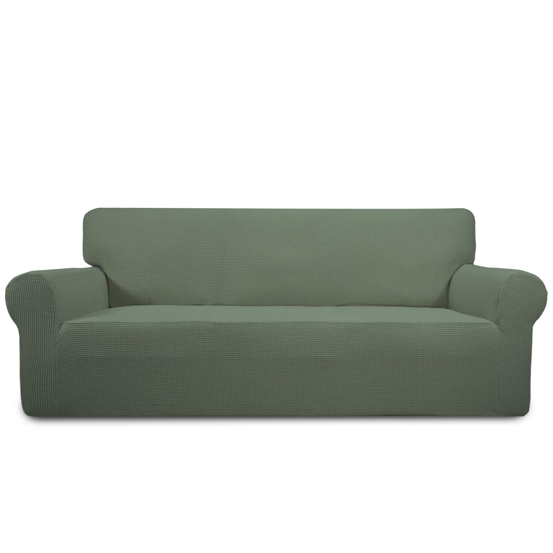 Easy-Going Stretch Sofa Slipcover 1-Piece Sofa Cover Furniture Protector Sofa Shield Couch Soft with Elastic Bottom Anti-Slip Foam Kids, Spandex Jacquard Fabric Small Checks(Sofa,Greyish Green)