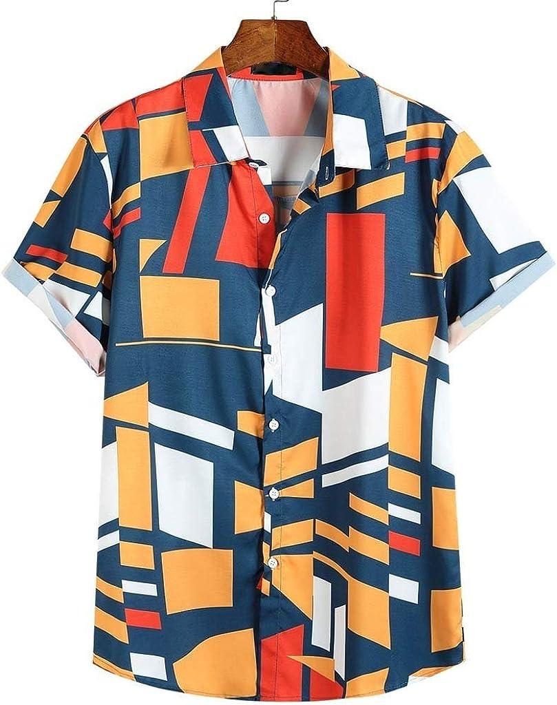 Overdose Camisas Hombre Camisas Holgadas De Manga Corta para Hombre con Contraste De Color Geométrico con Estampado Geométrico Originales Tallas Grandes: Amazon.es: Ropa y accesorios