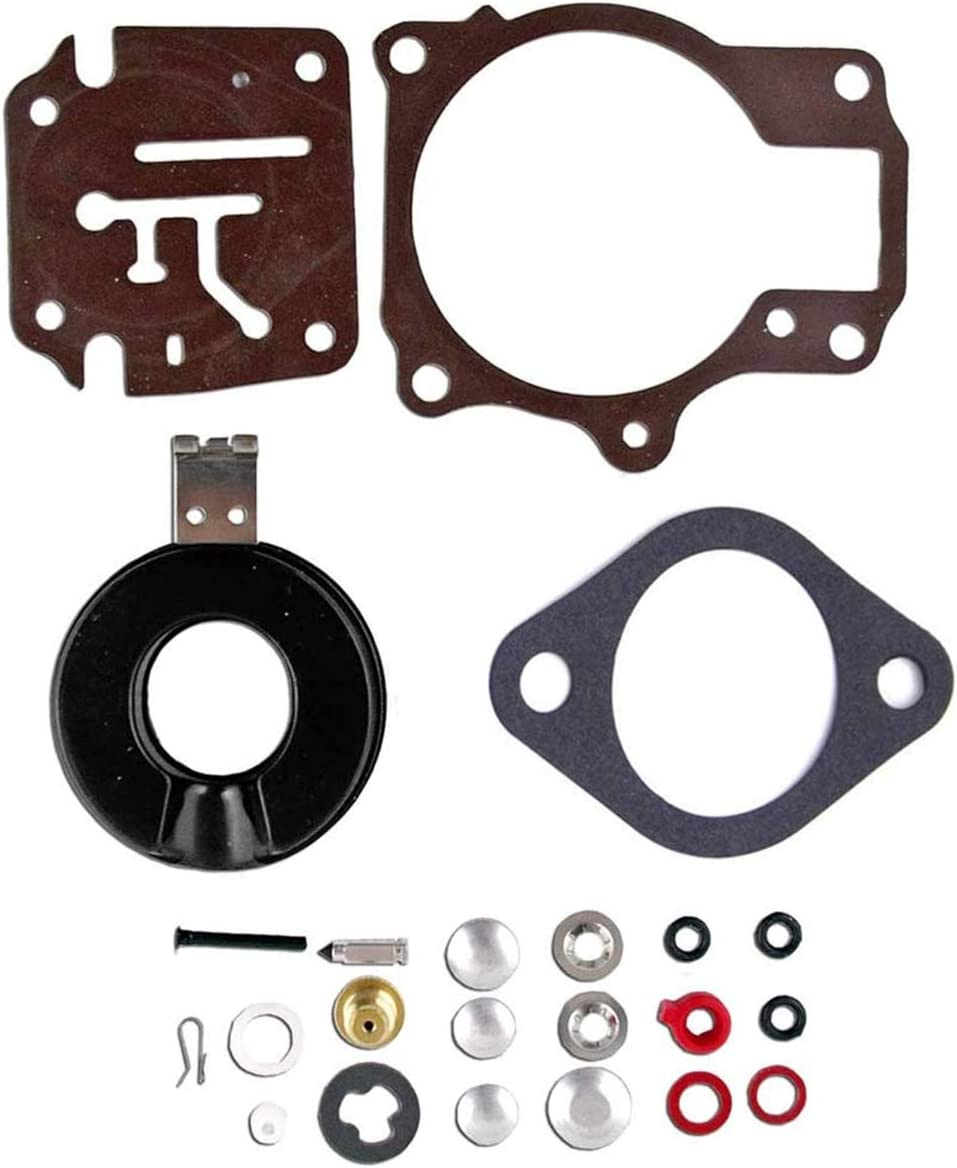 Toolyuan 396701 Carburetor Rebuild Repair Kit with Floats for Johnson Evinrude 18 20 25 28 30 35 40 45 48 50 55 60 65 70 75 HP Outboard Motors Replace 392061 398729 18-7222 18-7042