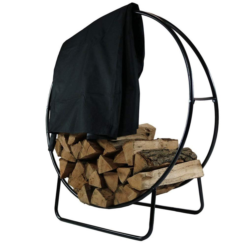 Sunnydaze Outdoor Firewood Log Hoop and Cover Set - 40-Inch Powder-Coated Steel Lumber Storage Rack and Black Weather-Resistant Heavy-Duty Protective PVC Cover by Sunnydaze Decor