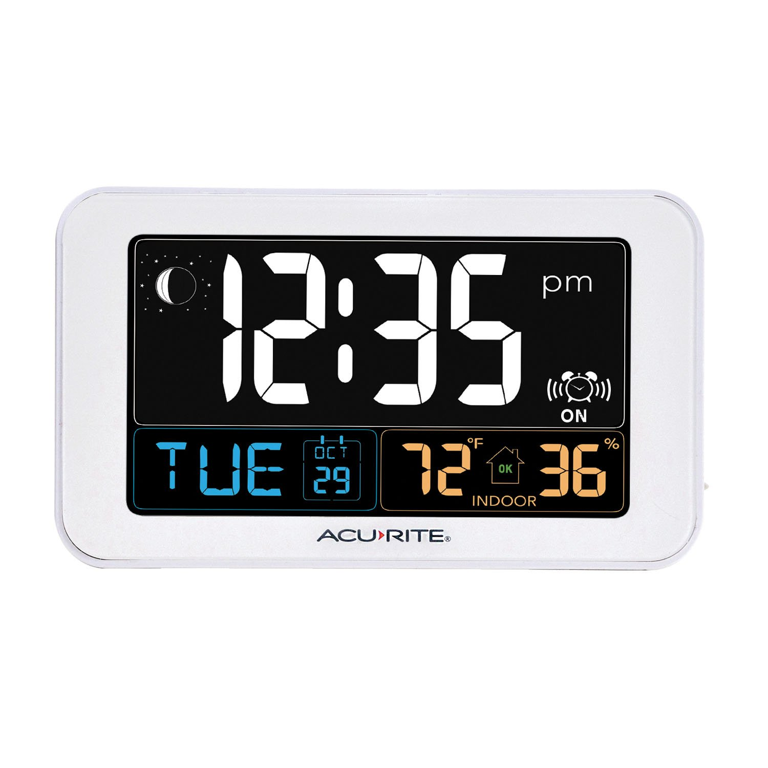 AcuRite Intelli-Time Alarm Clock with USB Charger, Indoor Temperature and Humidity (13040CA)